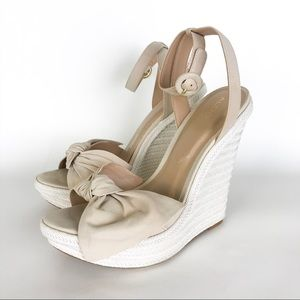 Aldo Beige Ankle Strap Bow Wedge Sandal